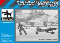 F32087 1/32 WW II Luftwaffe bombenpersonal + Bomb loader + SC250 bomb N°2 Blackdog
