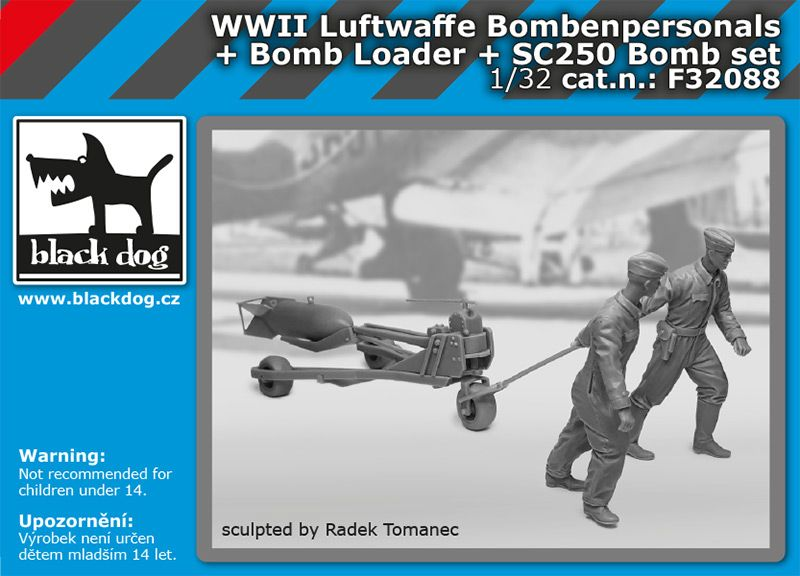 F32088 1/32 WW II Luftwaffe bombenpersonals + Bomb loader + SC250 bomb set Blackdog