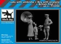 F32096 1/32 Lady with umbrella+boy with airplane+british pilot WW I