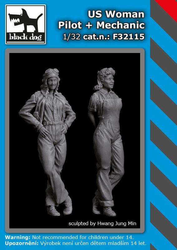 F32115 1/32 US woman pilot+mechanic Blackdog
