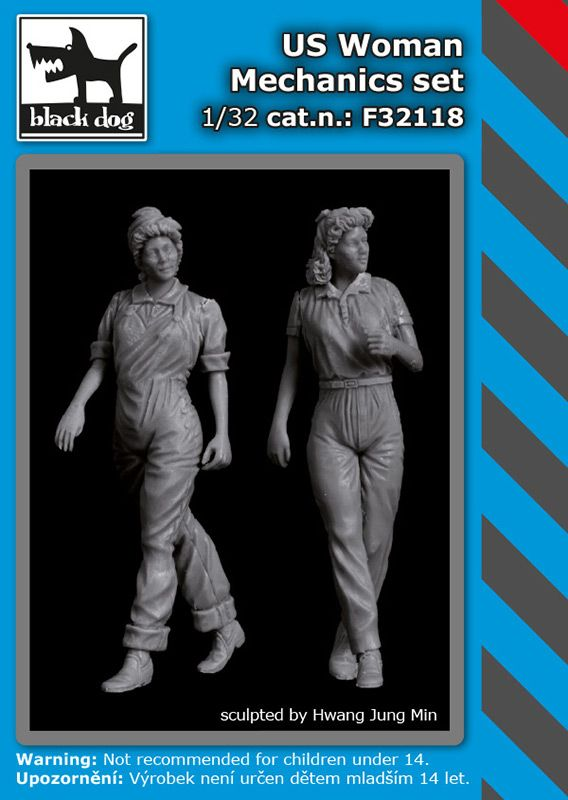 F32118 1/32 US woman mechanics set Blackdog