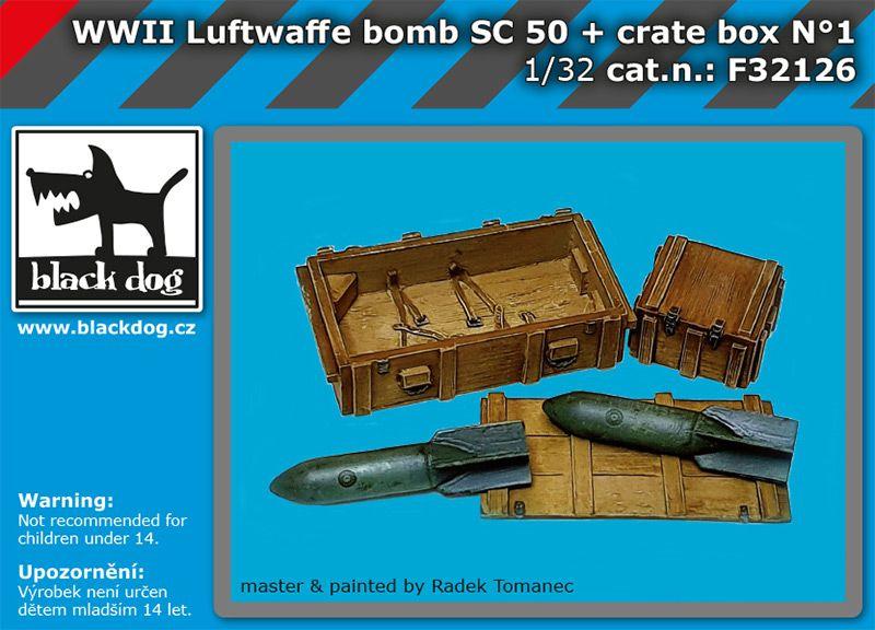 F32126 1/32 WW II Luftwaffe bomb Sc 50+crate box Blackdog