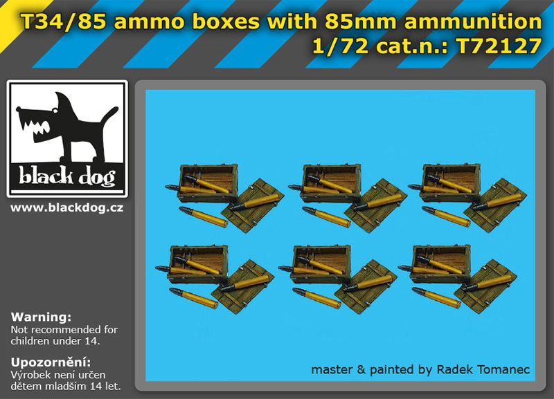 T72127 1/72 T34/85 ammo boxes with 85 mm ammunition Blackdog