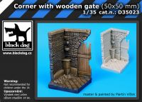 D35023 1/35 Corner with wooden gate (50x50 mm) Blackdog