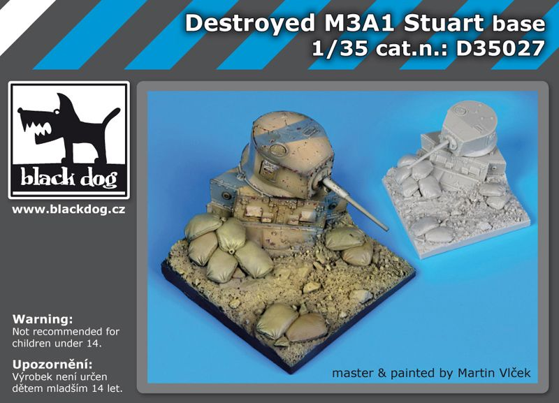 D35027 1/35 Destroyed M3A1 Stuart base Blackdog