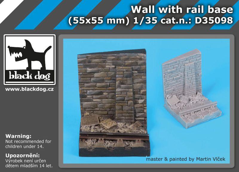 D35098 1/35 Wall with rail base Blackdog