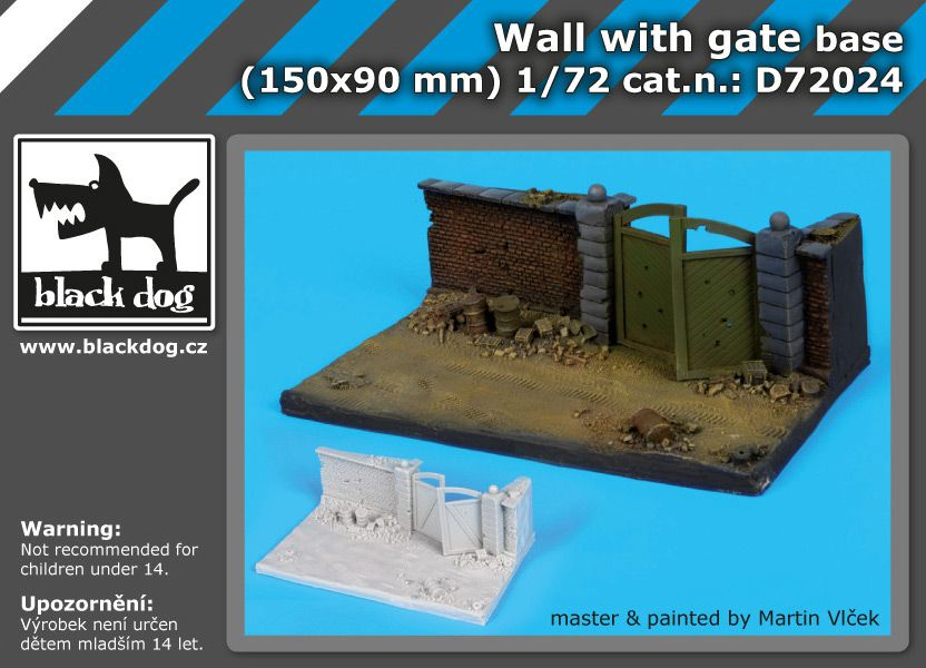 D72024 1/72 Wall with gate base Blackdog