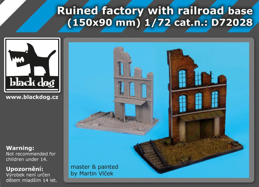 D72028 /72 Ruined factory with railroad base Blackdog