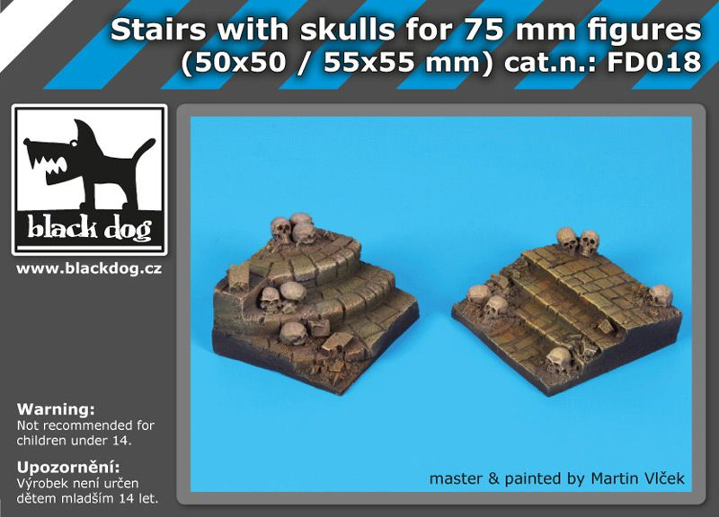 FD018 Stairs with skulls for 75 mm figures Blackdog