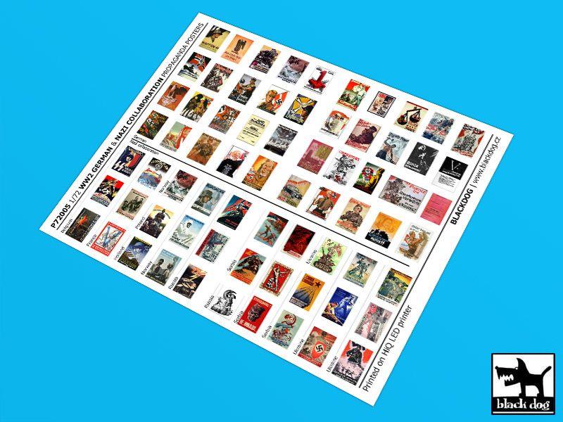 P72005 1/72 WW II German & Nazi collaboration Propaganda posters (70 posters) Blackdog