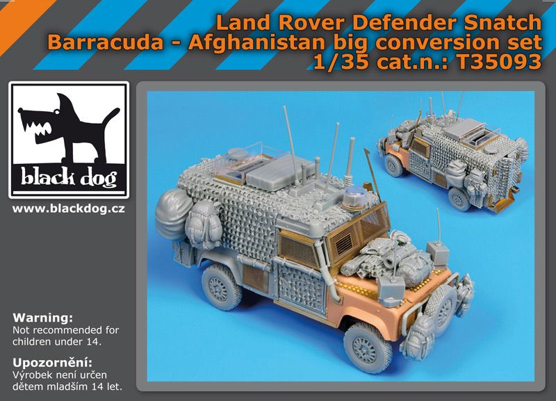 T35093 1/35 Land Rover Defender Snatch Barracuda big set Blackdog